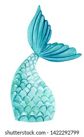 fish tail, mermaid on an isolated white background, watercolor illustration