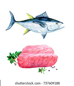 Fish tuna. A piece of tuna. Dish. Watercolor illustration isolated on white background.