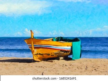 Barco de pescadores en la arena (pintura) - Efecto de pintura digital