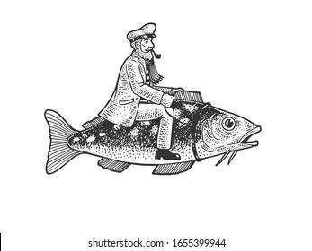 Fisherman captain riding fish sketch engraving raster illustration. T-shirt apparel print design. Scratch board imitation. Black and white hand drawn image.