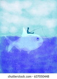 fisherman fishing on fish ecology concept
