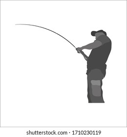 Fisherman with fishing rod in his hands, fisherman silhouette, fishing