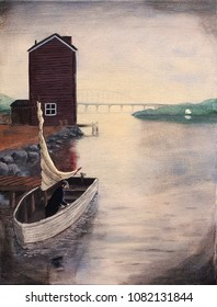 A fisherman prepares a small skiff to set sail from a cove.