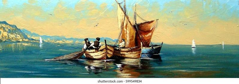 Fisherman, ships, boat, sea landscape, oil paintings.
