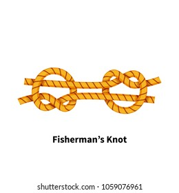 Fisherman's sea knot. Bright colorful how-to guide isolated on white