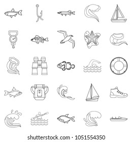 Fishery icons set. Outline set of 25 fishery icons for web isolated on white background