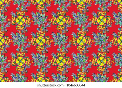 Fishes on red, yellow and green colors. Raster marine seamless pattern with cartoon colorful fishes. Sea life summer background.