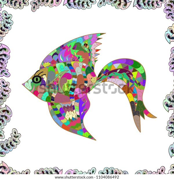 Fishes on white, neutral and green. Seamless. Funny cartoon colorful fishes.