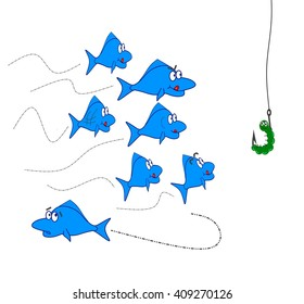 Fishes in smart decision concept