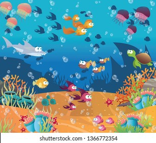 Fishes swimming in the ocean, around them are the seabed with coral, starfish, shells, sharks and jellyfish swim