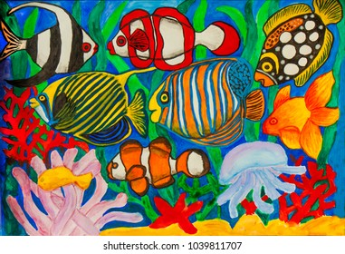 Fishes, watercolor painting