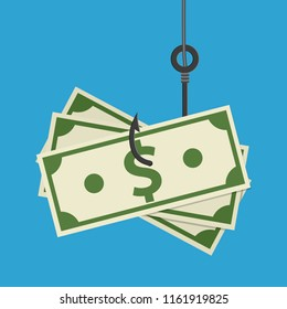 Fishhook business concept - money symbol as trap. illustration in flat style Raster version.