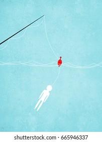fishing bait man digital illustration