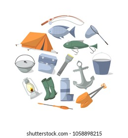 Fishing banner with fisher equipment icons. Tourist tent, anchor, fishhook, float, fishing rod, paddle, thermos, flashlight, rubber boots, camp boiler, cooler boxillustration in flat style.