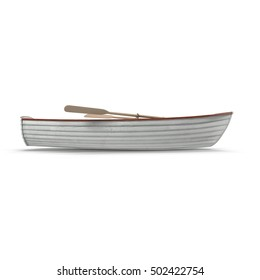 Fishing boat Isolated on white. Side view. 3D illustration