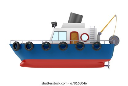 fishing boat side view isolated on white background. 3d illustration