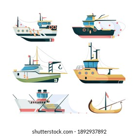 Fishing boats. Marine sailing transport for fishing big and small ships flat style