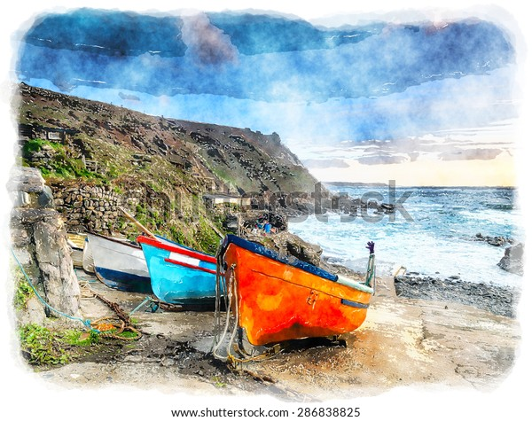 Fishing Boats On Slipway Priests Cove Stock Illustration 286838825