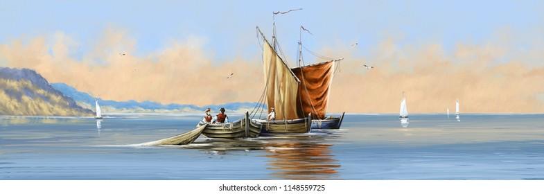 Kalastusaluksia. Maalaa merimaisemaa. Taidetta.