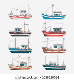 Fishing boats side view isolated set. Commercial fishing trawlers for industrial seafood production illustration in flat style. Vintage marine ships, sea or ocean transportation collection.