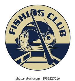 fishing club logo, illustration of fishing with hook the background dock