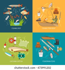 Fishing concept icons set with fishing from boat and catching catfish symbols flat isolated  illustration