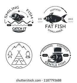 Fishing emblems labels elements logos icon set isolated concept template  illustration