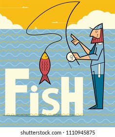 Fishing. Fisherman with big fish. Flat style colorful Cartoon illustration.
