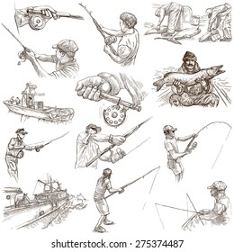 FISHING and FISHERS. Collection of an hand drawn illustrations. Description - Full sized hand drawn illustrations, freehand sketches, drawing on white background (isolated on white).