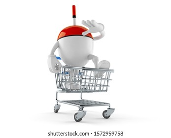 Fishing float character inside shopping cart isolated on white background. 3d illustration