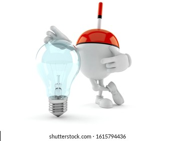 Fishing float character with light bulb isolated on white background. 3d illustration
