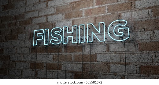 FISHING - Glowing Neon Sign on stonework wall - 3D rendered royalty free stock illustration.  Can be used for online banner ads and direct mailers.
