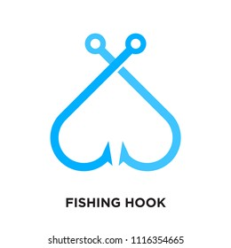 fishing hook logo isolated on white background for your web, mobile and app design