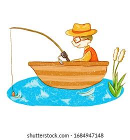 Fishing illustration, fisherman with rod and fish