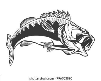 Fishing logo. Bass fish with rod club emblem. Fishing theme illustration. Isolated on white.