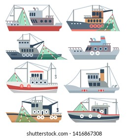 Fishing ocean boats. Commercial fisherman ships isolated set. Nautical fishing vessel, shipping sea fish illustration
