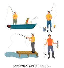 Fishing process isolated on white raster banner, illustration of men in boat and on wooden masonry with different fishing-rods, catched fish in bucket