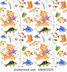 Fishing seamless pattern for children. Cat caracter, fish and bubbles
