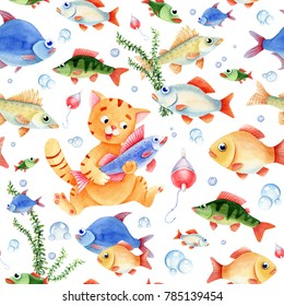 Fishing seamless pattern for children. Cat caracter, fish and bubbles on the white background