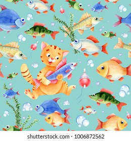 Fishing seamless pattern for kids. Cat caracter, fish and bubbles on the blue background