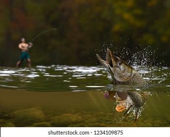Fishing time, fisherman holding rod and reel catching freshwater  pike fish half water view 3d render