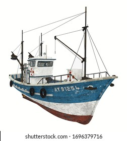 Fishing trawler isolated on white background Computer generated 3D illustration
