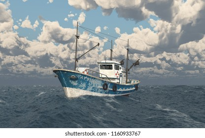Fishing trawler in the stormy sea Computer generated 3D illustration