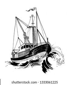 Fishing trawler in the stormy sea. Ink black and white drawing