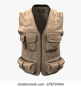 Fishing Vest on white. 3D illustration