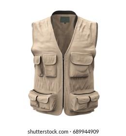 Fishing Vest on white. 3D illustration