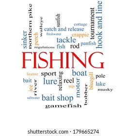 Fishing Word Cloud Concept with great terms such as bobber, lure, pole and more.