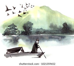 Fishman in the boat. Chinese landscape with mountain, birds, river, trees, pagoda. Watercolor and ink illustration of nature, sumi-e or u-sin traditional painting.