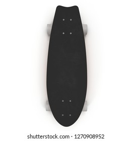 Fishtail Cruiser Skateboard Slackers Top View On White Background 3D Illustration Isolated