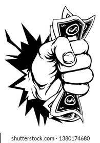 A fist hand holding money in the form of cash paper dollar bills and breaking through the background or wall. In a vintage intaglio woodcut engraved or retro propaganda style